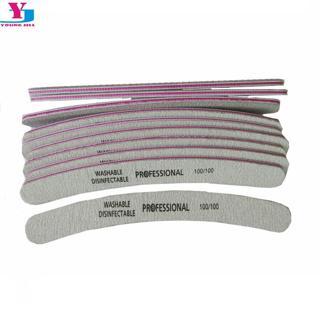 10pcs/lot New Nail File 100/100 Acrylic UV Gel Curved Mail Nail Files Buffer Buffing Manicure Set