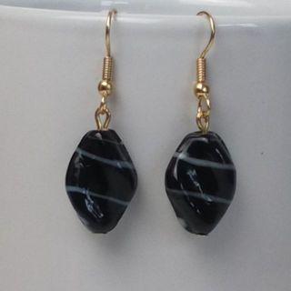 Handmade glass blown beaded drop hook earrings, gold black grey in colour
