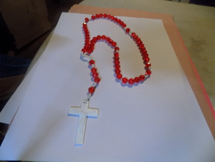 Hand made red faceted bead rosary with white plastic crucifix