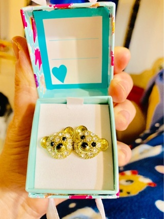 Brand New Betsey Johnson Gold-Tone Stud Pave Teddy Bear Crystal Earrings in Brand New Unicorn Box