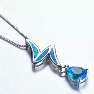Blue Crystal Rhinestone Lightning Bolt Necklace