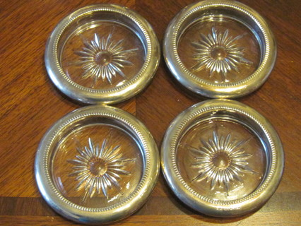 4  Vintage Crystal & Silverplate Italy Coasters