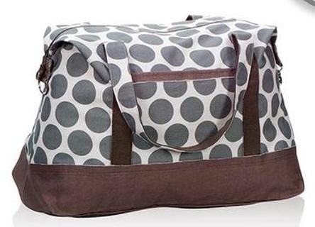 Thirty One Gifts Retro Metro Weekender Gray Grey Mod Dot Nwt
