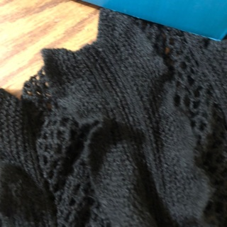 Crocheted black ruffle scarf preowned