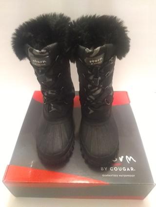 Women, Black Camo Faux-Fur Boots