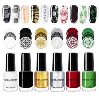 NICOLE DAIRY Black White Nail Stamping Polish Lacquer Gold Silver Nail Art Plate Stamp Oil White N