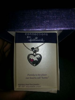 Stainless steel Hallmark heart charm with necklace (New)
