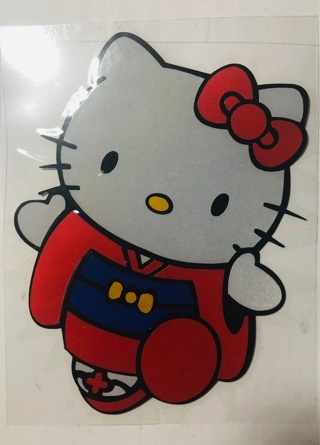 1 LG Colored Full Body Hello Kitty Vinyl Car Mirror Window Decal