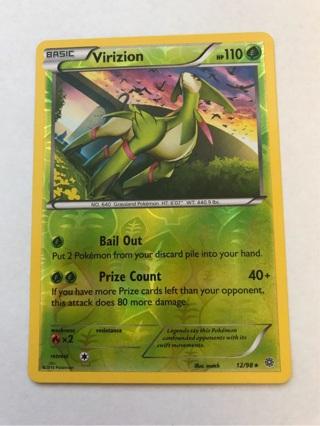 Pokemon Card Virizion Reverse Holo Rare Ancient Origins 12/98