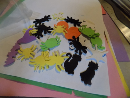 Small bag Halloween foam stickers spiders, pumpkins, bats, witches hats, black cats, ghost
