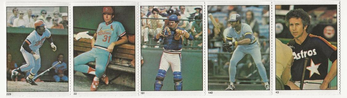 1982 Fleer Baseball Stamps Strip (5)
