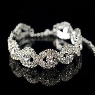 [GIN FOR FREE SHIPPING] Fashion Crystal Rhinestone Infinity Bangle Bracelet