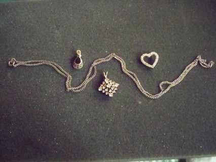 24 INCH STERLING SILVER CHAIN WITH 3 STERLING SILVER PENDANTS
