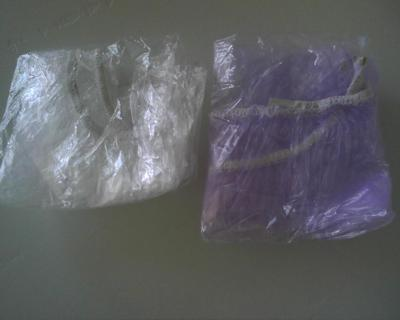 SHOWER CAPS 1 CLEAR 1 PURPLE WITH MULTIPLE USES