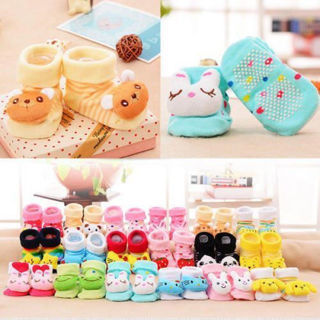 Newborn Baby Girl Boy Cute Anti-slip Socks Shoes Slippers Animal Boots 0-6M