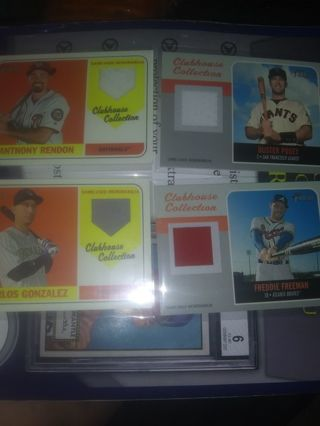HUGE -TOPPS HERITAGE (clubhouse collection)RELIC LOT(4)