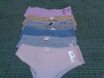 HURRY!! 6 BRAND NEW WITH TAGS-VICTORIA'S SECRET-PINK-6 PAIRS MEDIUM PANTIES-LOW RISE CHEEKSTERS-TAGS