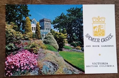 CASTLE AND GARDEN, SPENCER CASTLE, VICTORIA, B.C.  - 1970'S   old unused postcard