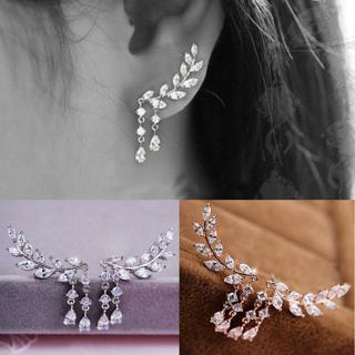 Women Fashion Crystal Rhinestone Leaves Tassel Ear Stud Earrings 1Pair