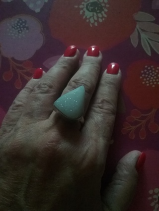 Beautiful Moon stone? Druzy? Ring .925 Distinctively Different!
