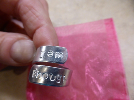 """""""I Am Enough"""" Adjustable/Sizable Aluminum Ring w/ Pink Gift Bag - New"""
