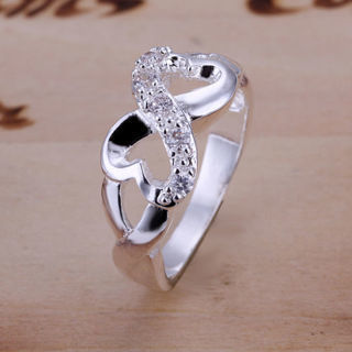 925 Sterling Silver Filled Infinity Design Heart Ring