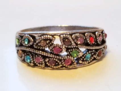 Multi-Color CRYSTAL Rhinestones SILVER Plate RING SIZE 11 Women Leaf Vintage Style