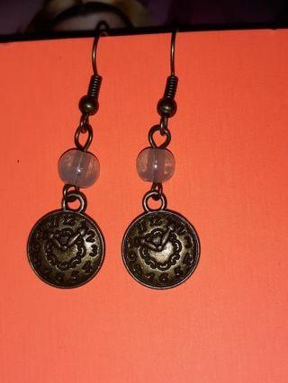 Steampunk Jade clock earrings