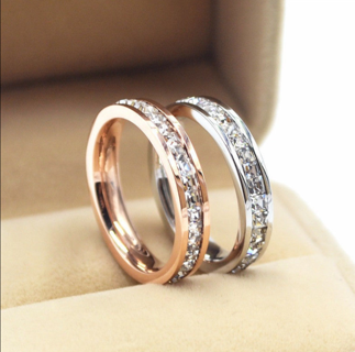 Silver/Rose Gold CZ Titanium Steel Ring Women's Stainless Wedding Band Size 3-10