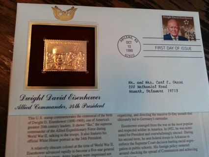 Gold Replica Stamp Dwight D Eisenhower