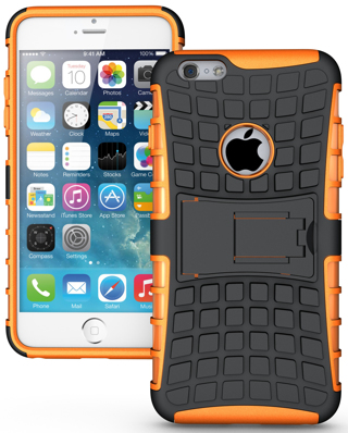NEW APPLE iPHONE 6 PLUS HYBRID Case Scratch-Resistant Shock Absorbent Non Slip Tire Grip Stand