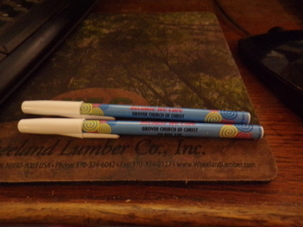 2 NEW PEN WITH THE NAME AND ADDRESS OF MY CHURCH ON THEM