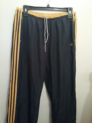 ADIDAS ATHLETIC KIDS PANTS SIZE:LARGE COLOR:BLUE WITH YELLOW - ORANGE STRIPES