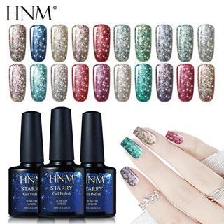 HNM 10ML Starry Bling Nail Polish UV Soak Off Glitter Glue Varnishes Hybird Primer Enamel Lucky La