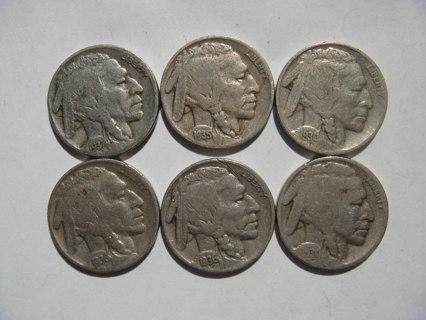 6 Buffalo Nickels