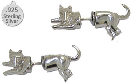 UNIQUE STERLING SILVER CAT EARRINGS NEW from ITALY 925 SILVER FACE ON FRONT & TAIL ON BACK OF EAR!!!