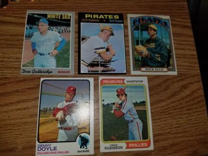1970-1974 Topps Baseball 5 card lot,1 for each year,EX condition,Free Shipping!