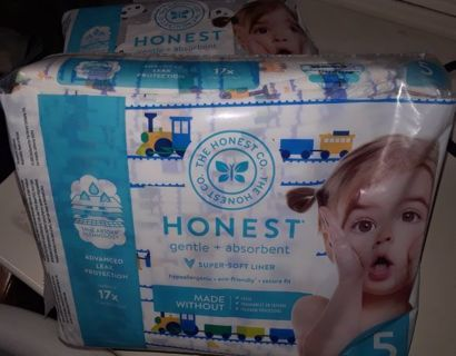 2 New Packs! Honest Co. Diapers size 5 (40 ct. total)