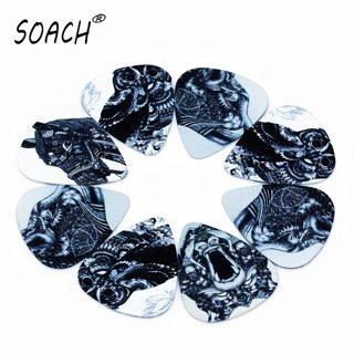SOACH 10PCS 0.46mm high quality guitar picks two side pick Black and white animal picks earrings DIY