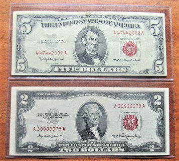 """★★$5 1963 RED SEAL & $2 1953 RED SEAL NOTES★★ """"VF-AU"""""""
