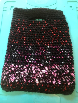 """Handmade Black Mixed with Colors Purse Shopping Bag Tote iPad Holder etc. """"Makes a Great Gift"""""""