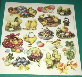 Sheet of Vintage Themed Easter Chicks Paper (glossy) from Germany