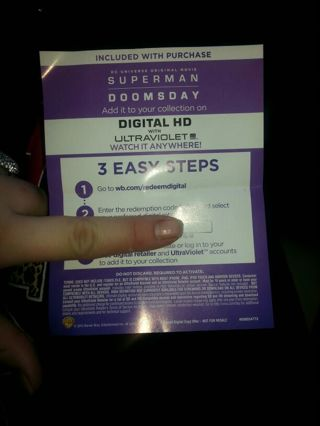 DC Universe Original Movie SUPERMAN DOOMSDAY digital HD ultraviolet copy!!!