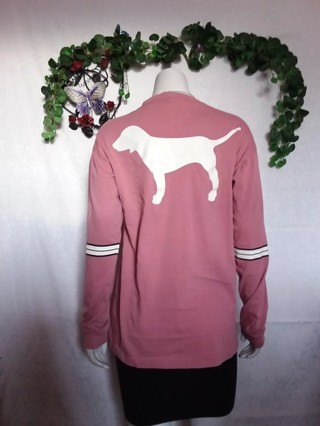 ~ DROPPED GIN EUC Victoria Secret PINK Long Sleeve Top Size XS