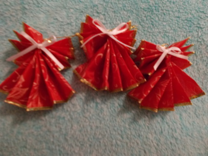 3 Red W/ White Angel Ornaments