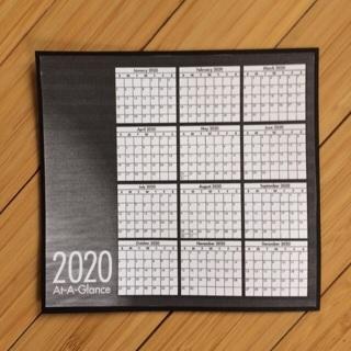2020 Calendar at a Glance