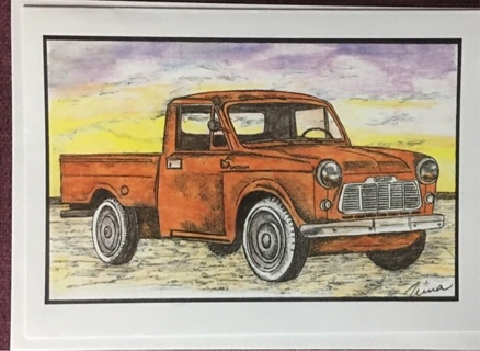 "VINTAGE DATSUN TRUCK - 5 x 7"" art card by artist Nina Struthers - GIN ONLY"