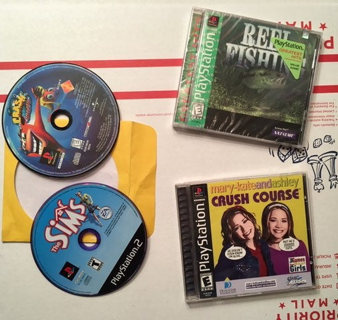 Sony PS1 GAMES Crash Sims Fishing Mary Kate Ashley