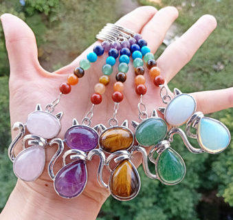 Multi-Stone Kitty cat 7 Chakra Bag clasp Pendant Reiki Healing Amulet