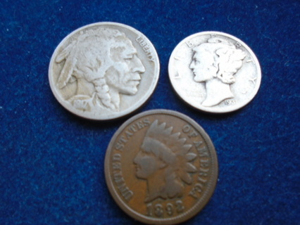 1892 1917 & 1931 OLD  U.S. COINS WITH SILVER FULL DATES!